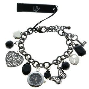 Heart Butterfly Watch Bangle-Bracelet Sil & Black